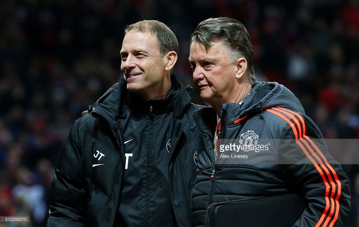 Louis van Gaal Manager of Manchester United and Jess Thorup manager of FC Midtjylland greet prior to the UEFA Europa League Round of 32 second leg match between Manchester United and FC Midtjylland at Old Trafford on February 25, 2016 in Manchester, United Kingdom.