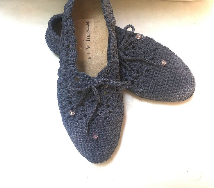 Outdoors Crochet Shoes, Spring Summer Shoes, Summer Gift For her, Grey Shoes by…