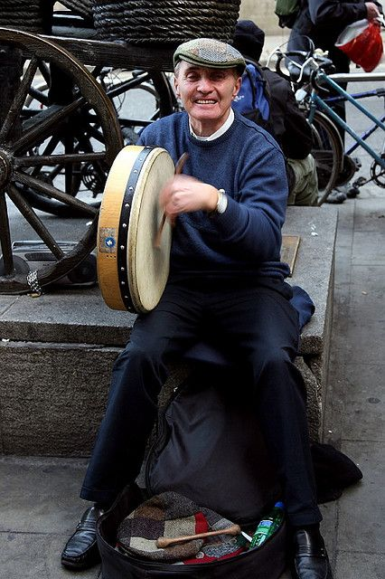 This guy is a regular at the base of the Molly Malone statue at the end of Grafton St. He is always very cheerful and loves to be photographed and tries to organise someone else to take a picture of you with him, which in my case was not required :-) but the tourists love it.