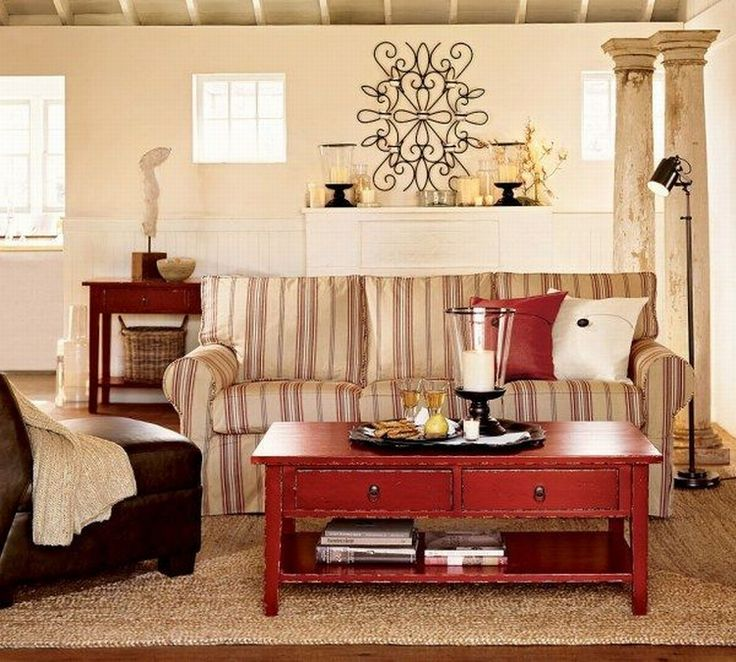 pottery barn living room decorating ideas%0A Pottery Barn Vintage Touch Collection Will Magnetize You vintage style  pottery barn living room interio With Striped Sofa and Red Table Pottery  Barn Small