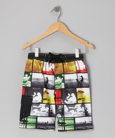 Take a look at this Red Rasta Photo Boardshorts - Boys by Jantzen on #zulily today!