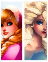 Anna and Elsa by geryri *-*