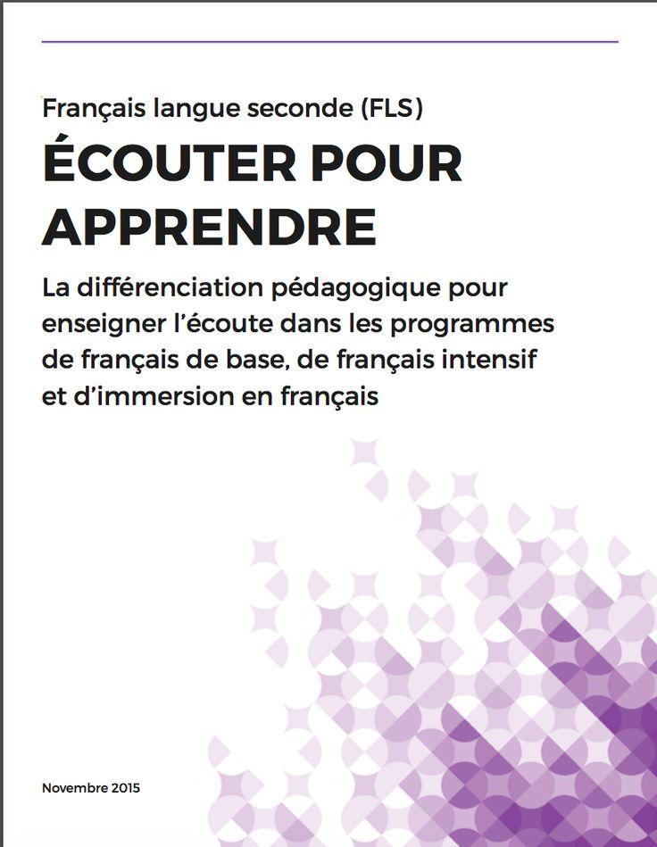Hoerath, E. (2015). Ecouter pour apprendre: La différentiation pédagogique pour enseigner l'écoute dans les programmes de français de base, de français intensif, et d'immersion en français [PDF]. Ontario, Canada: Curriculum Services Canada.