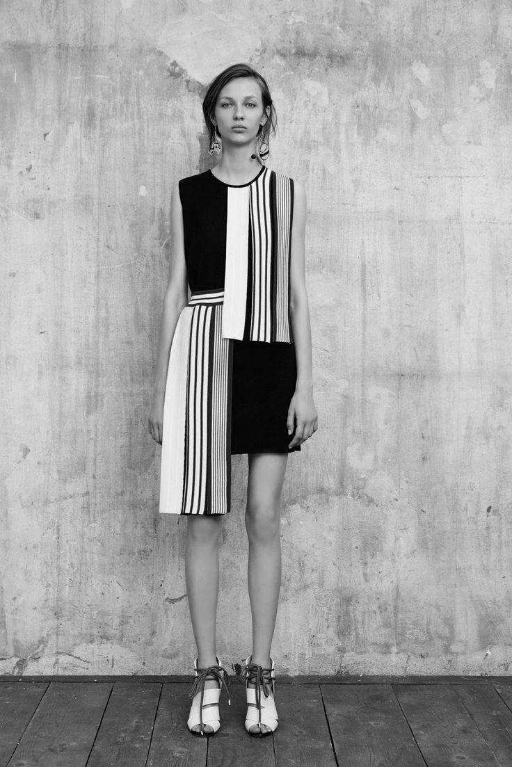 Asymmetric colour block dress with graphic stripe print detail // MSGM Resort 2016