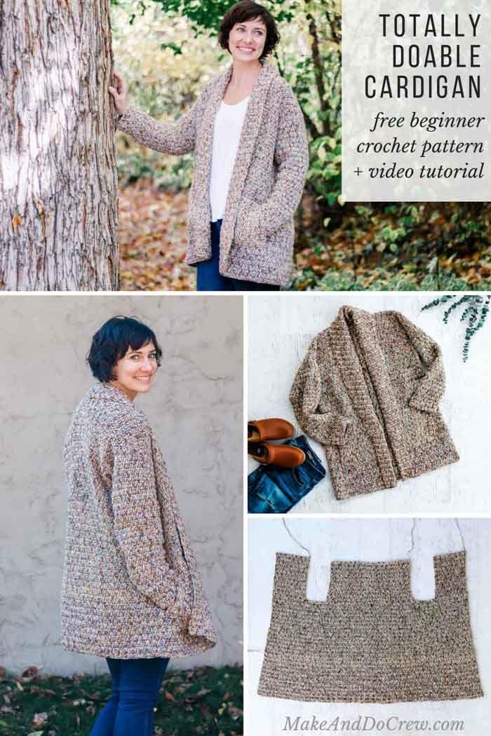 Modern, Beginner Crochet Long Sleeve Cardigan – Free pattern + Video   – Jess | Free Crochet Patterns | Make and Do Crew