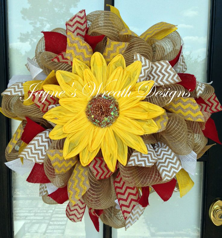 Burlap Sunflower Wreath w/ yellow, red, and white burlap ribbons Great Summer and all year wreath