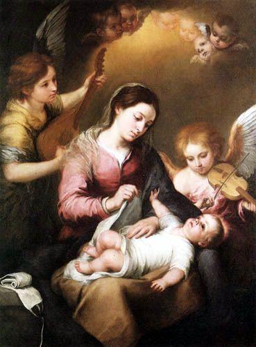 Bartolomé Esteban Murillo (Pérez) - La Virgen y niño con ángeles