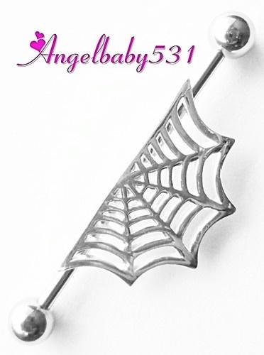 "Stunning Steel Industrial Barbell Spider Web Charm 1 1 2"" 1 3 8"" 1 1 4"" Gorgeous   eBay"