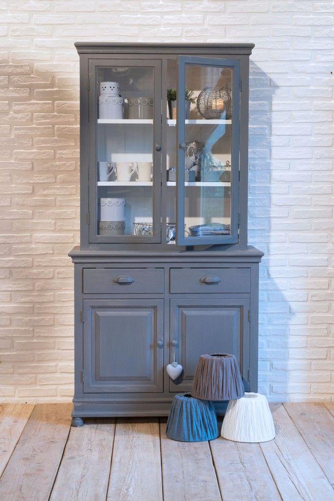 Credenza + vetrina componibili in legno di paulownia grigio scuro nuova collezione Luxe Lodge Un'esclusiva myHOMEchic!