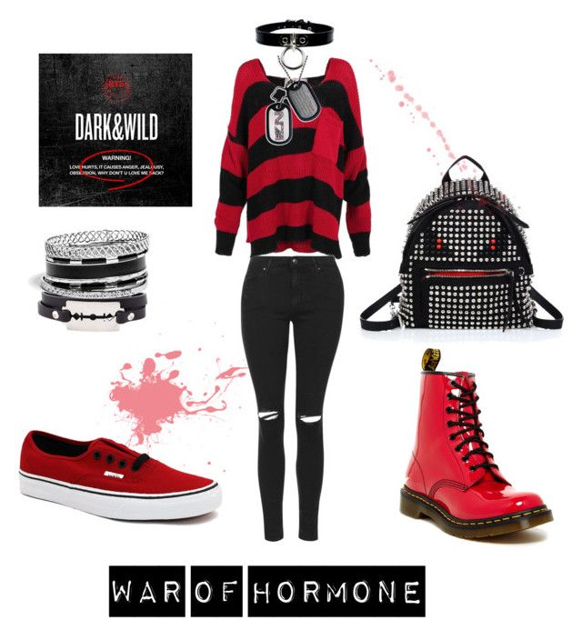 """WoH Kookie"" by vinne on Polyvore featuring Topshop, McQ by Alexander McQueen, Vans, Dr. Martens, GUESS, Fendi, kpop, blackandred, bts and kookie"