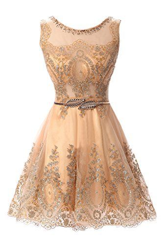 MILANO BRIDE Cheap Cocktail Dress Short Prom Party Dress Applique Belt Tulle-12-Gold    #prom #partywear