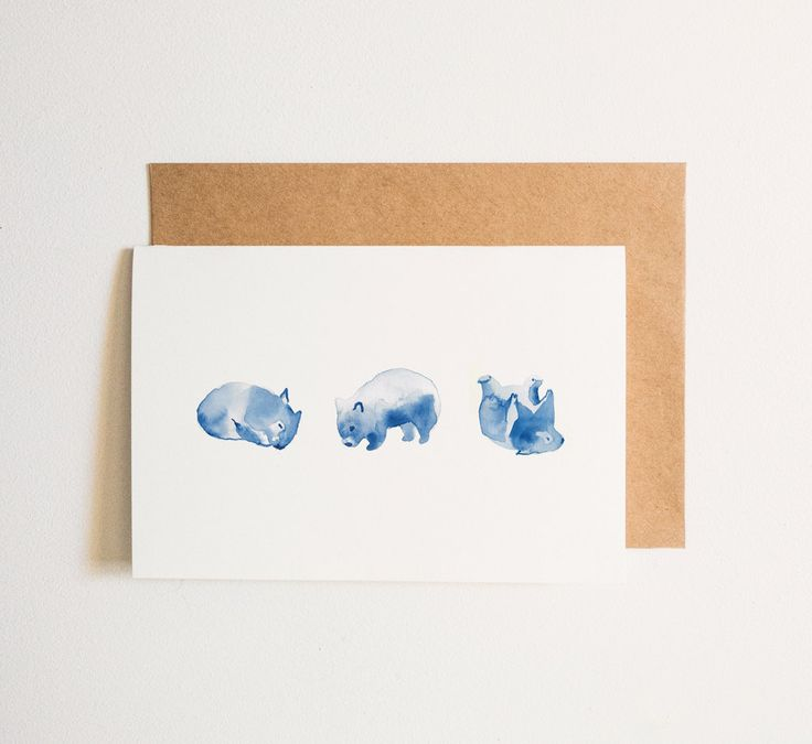 Greeting Card, Blank: Wombat Watercolour by CarlaEllisCreative on Etsy