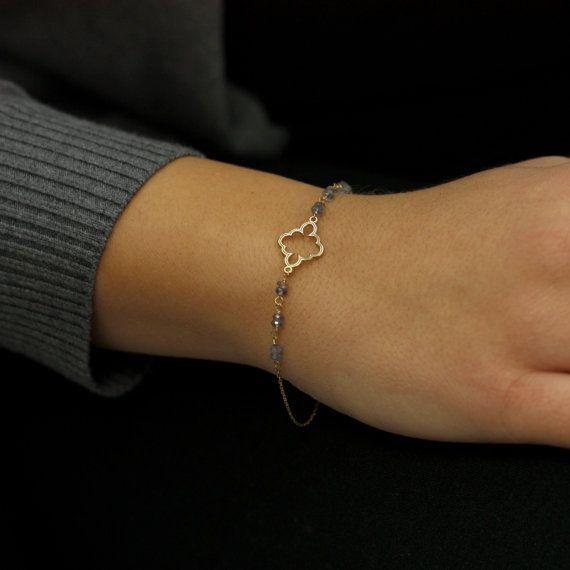 Clover Charm Bracelet 14k Solid Gold Beaded by KyklosJewelryLab