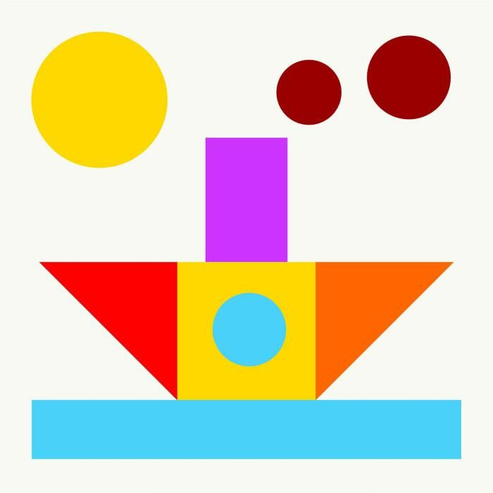 Открытка из фигур геометрические фигуры, мобила картинка днем