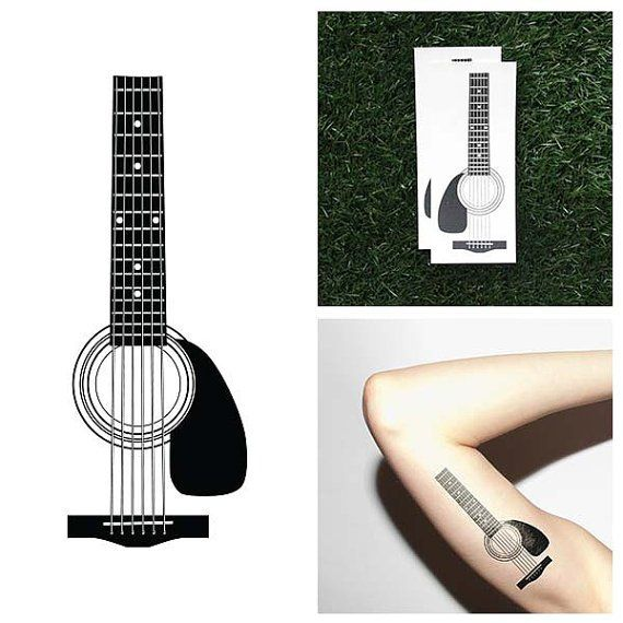 Fancy - Acoustic Guitar Temporary Tattoo Set                              …