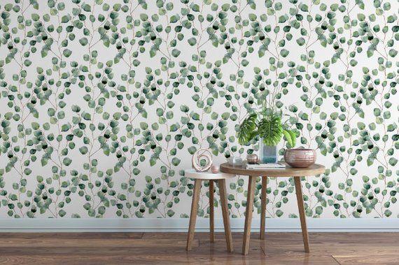 Eucalyptus Leaves Removable Wallpaper Green Floral Peel And Etsy Removable Wallpaper Leaf Wallpaper Peel And Stick Wallpaper