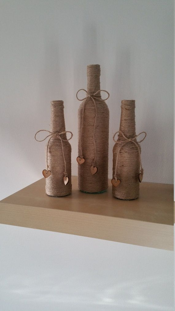 Twine wrapped Bottles set of 3 by GiftsbyCatrell on Etsy