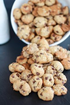 Baby Cereal Cookies: Perfect for babies learning to self feed, no added sugar! Great way to use leftover Infant Cereal! 1 cup Infant Single Grain Oatmeal Cereal, 2 mashed ripe bananas, 1 tsp vanilla, 1 egg, 1 tbsp butter, (optional: 1/4 cup mini chocolate chips, pictured) Mix everything together, form into tiny cookie balls on a greased baking sheet. Bake at 350 for 7-10 minutes.
