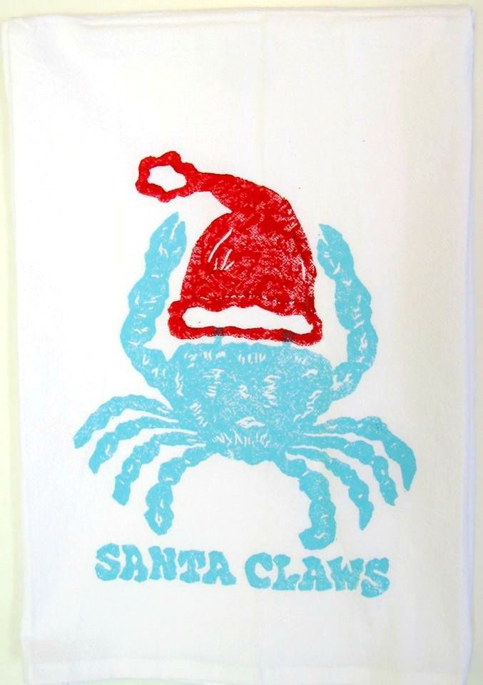 Santa Claws Kitchen Christmas Towel: http://caronsbeachhouse.com/holiday-decor/santa-claws-crab-kitchen-towel.html