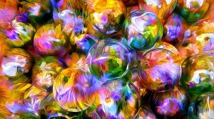 Preview wallpaper rendering, balls, blurred, petals, reflection 1920x1080