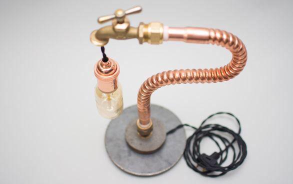 Industrial Copper Hose Desk Lamp on Chairish.com