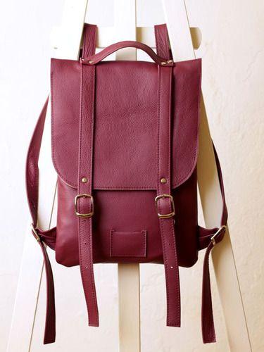 Ежевичный рюкзак из гладкой кожи Colorful leather backpack rucksack Kokosina