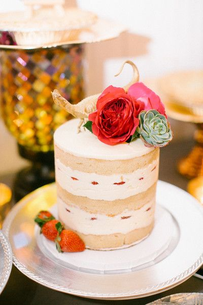 Small naked wedding cake idea - petite wedding cake decorated with red flowers and metallic gold dinosaur cake topper {Kimberly Chau Photography}