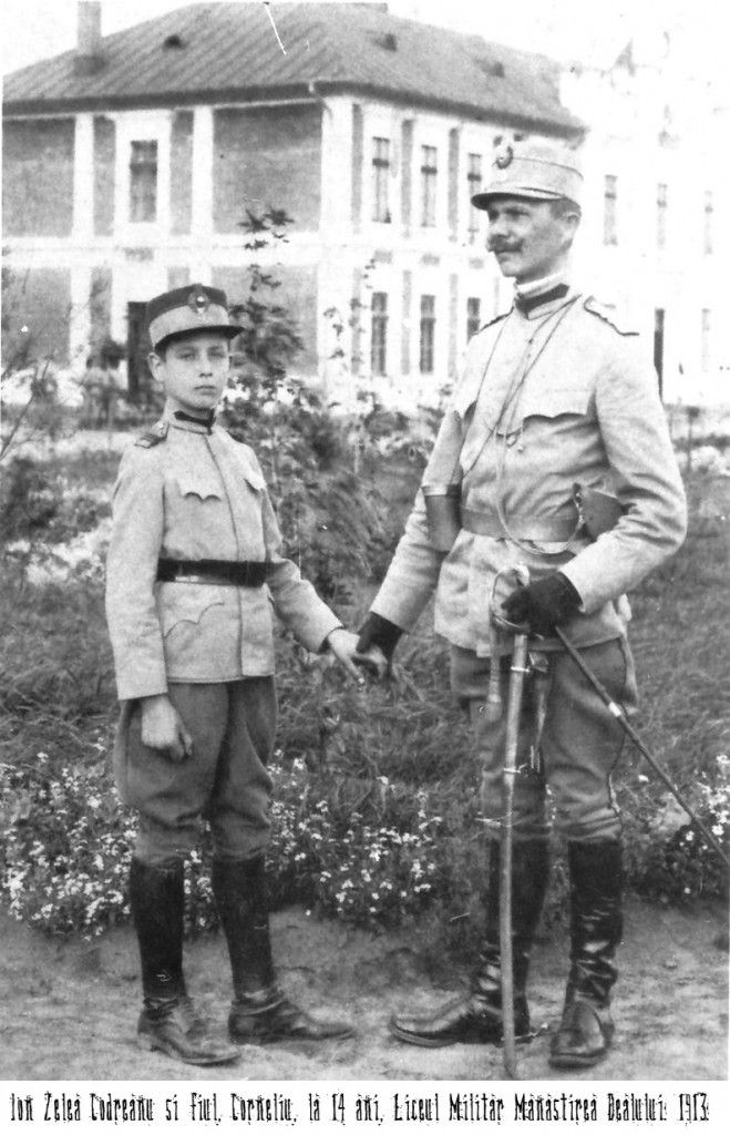 14-year-old Corneliu with his father, Ion Zelea Codreanu, at the military school, 1913