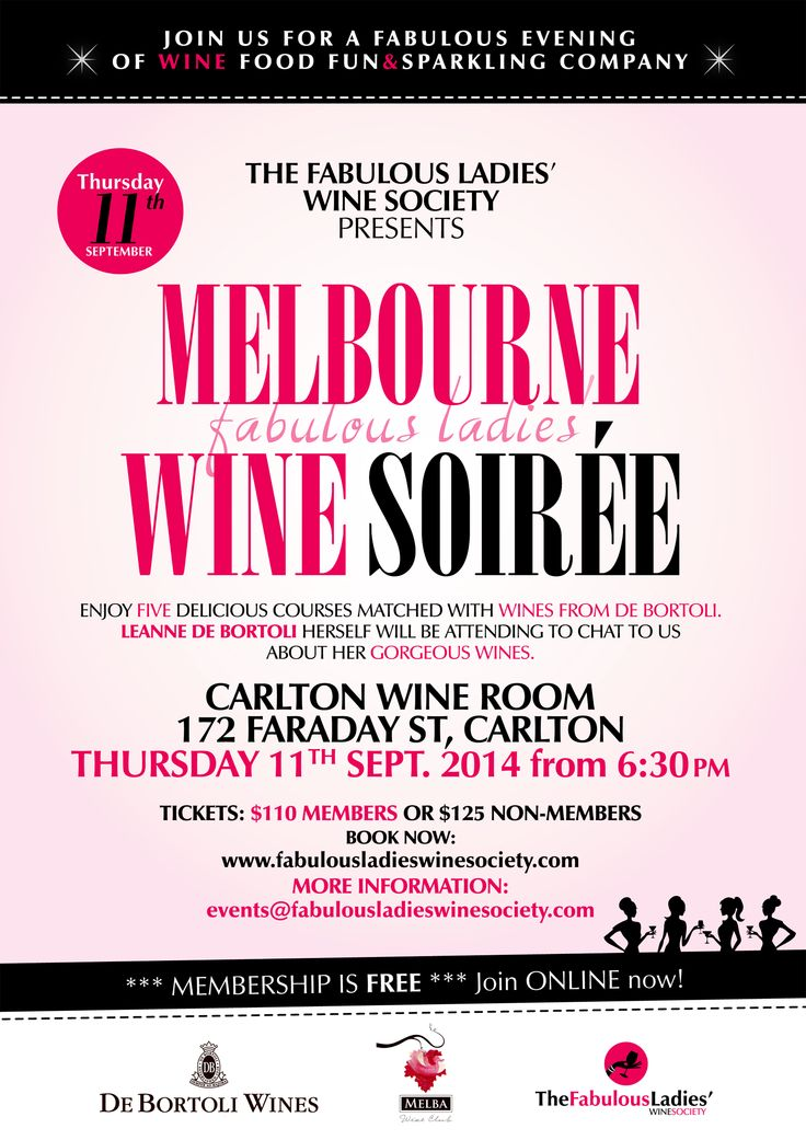 #Melbourne Fabulous Ladies Wine Soiree with De Bortoli Yarra Valley. Thursday 11 September at the Carlton Wine Room. Book now! http://fabulousladieswinesociety.com/melbourne-fabulous-ladies-wine-soiree-11-september-2014/