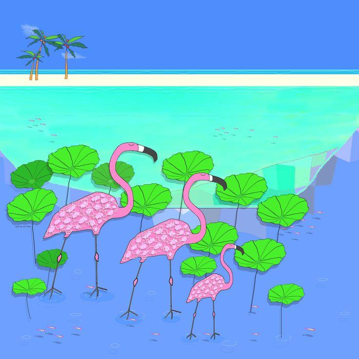 Flamingos in tropical water. #flamingo #illustration #illustratie #tropical #tropisch #bluegreen #pink