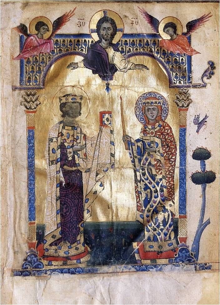 MS 2660, Jerusalem, Armenian patriarchate ,Armenian Manuscript (1262), fol. 228  dual rulers - beautiful textiles