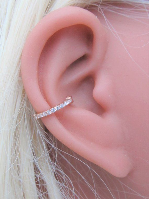 14k Solid Rose Gold Conch Piercing Eternity Clicker Etsy Silver Ear Cuff Ear Jewelry Ear Jacket Earring Gold