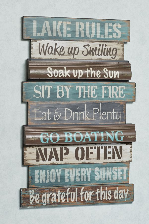 Lake Rules Wooden Wall Sign, Lake House Rules Bedding