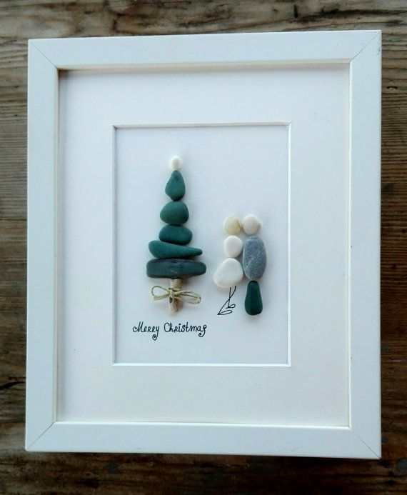 Christmas pebble art Christmas decor Holidays by pebbleartSmiljana