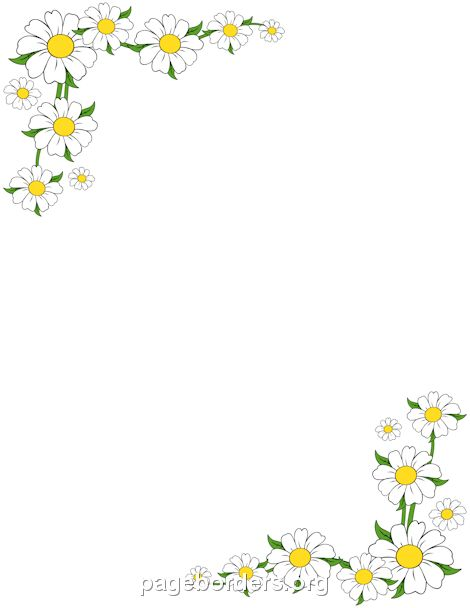 Printable daisy border. Use the border in Microsoft Word or other programs for creating flyers, invitations, and other printables. Free GIF, JPG, PDF, and PNG downloads at http://pageborders.org/download/daisy-border/