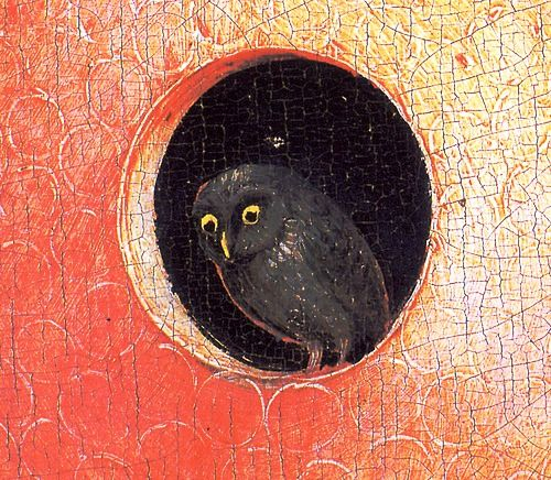 1480-1490 Hieronymus Bosch The Garden of Earthly Delights, Paradise, Owl center  Detail