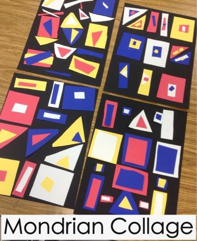 Mrs. Knight's Smartest Artists. Mondrian collage for the younger set. Tie in shape and primary's.