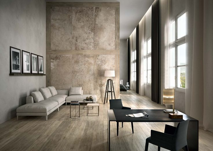 Wood and stone effect surfaces that makes a stunning wall decoration combined to a offset wood look floor, both design ideas by Rex  Selection Oak  & La Roche di Rex  #wood #floor #stunning #design #interior #idea #loft #elegant #shades #soft #hues #light #modern #minimal #wall #decoration #stone #tiles #porcelain #madeinitaly