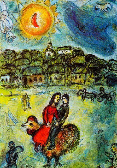 Chagall (1887--1985) Soleil sur le village -1980