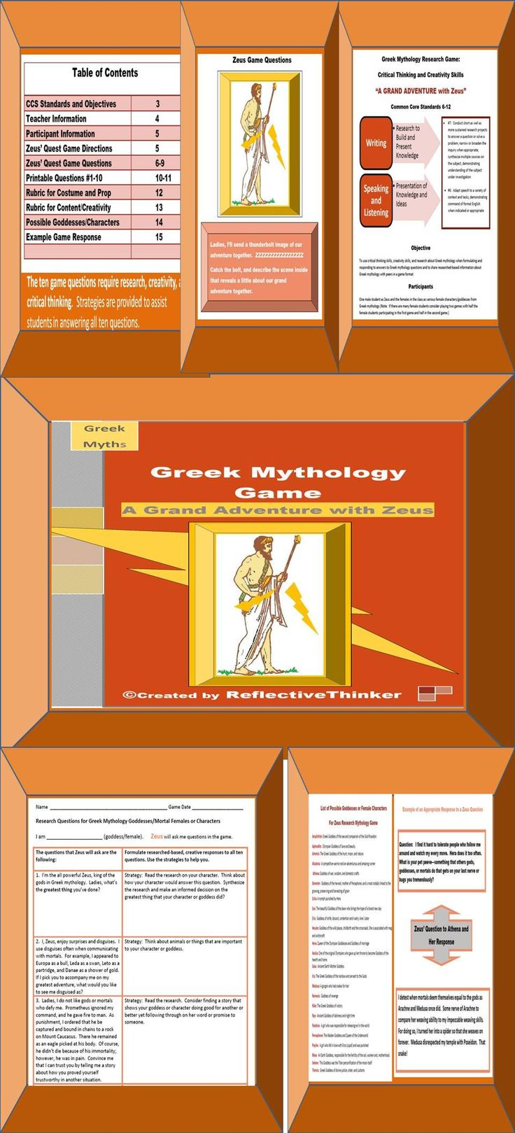 "This Research Greek Mythology Game ""GRAND ADVENTURE with ZEUS,"" which can be played like the Dating Game,  is aligned with CCS Standards and is appropriate for Grades 6-12. Game Objective: To use critical thinking skills, creativity skills, and research about Greek mythology when formulating and responding to answers to Greek mythology questions and to share researched-based information about Greek mythology with peers in a game format"