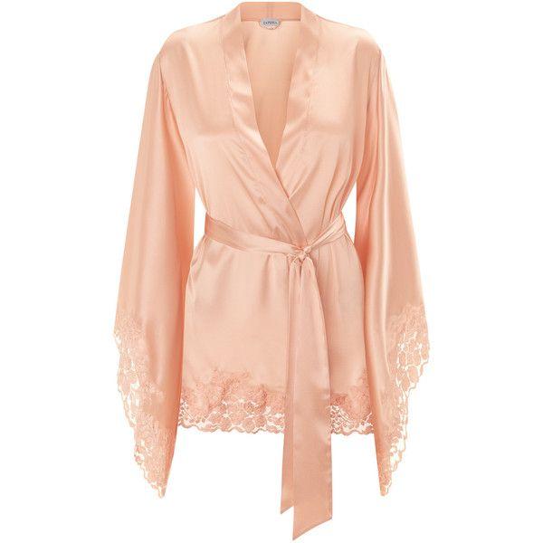 La Perla Azalea Peach Short Kimono Robe In Stretch Silk Satin And... ($545) ❤ liked on Polyvore featuring intimates, robes, short robe, satin lace robe, short kimono robe, short bath robe and lace kimono