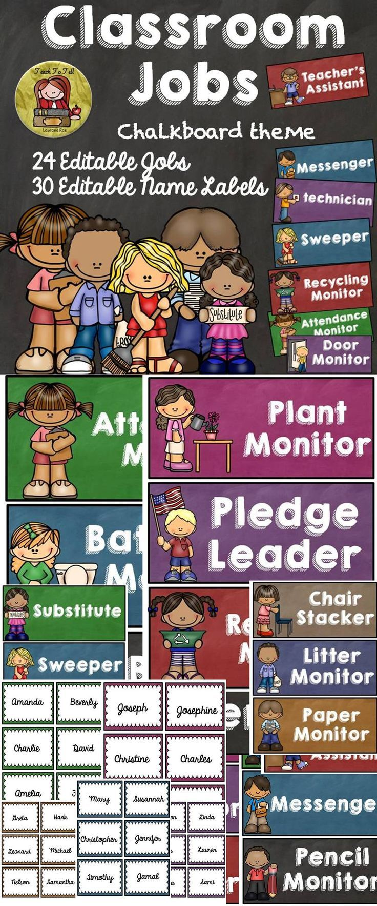An organized classroom is job half done. These 24 editable 'Classroom Jobs' featuring a unique chalkboard theme will be a strong visual reminder for your students. Included are also 30 editable name labels and a 'Classroom Jobs Header. Your students will love the responsibility. $