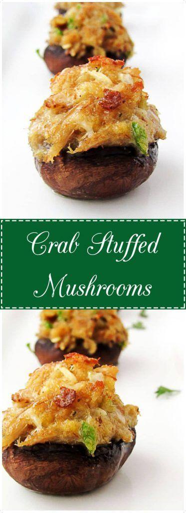 Crab stuffed mushrooms make an easy appetizer. #crab #mushrooms #appetizer #bitesized #partyfood