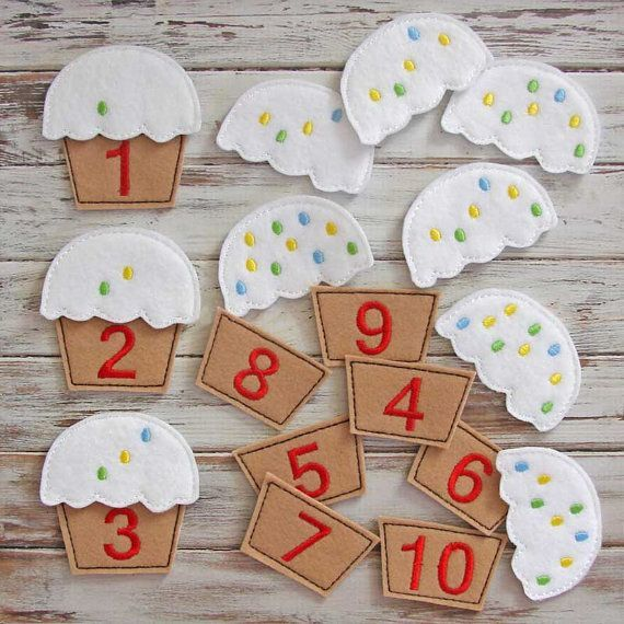 Kids counting game felt toy makes learning numbers both educational and fun. Match the numbers on the cupcake bottoms to the tops. A great