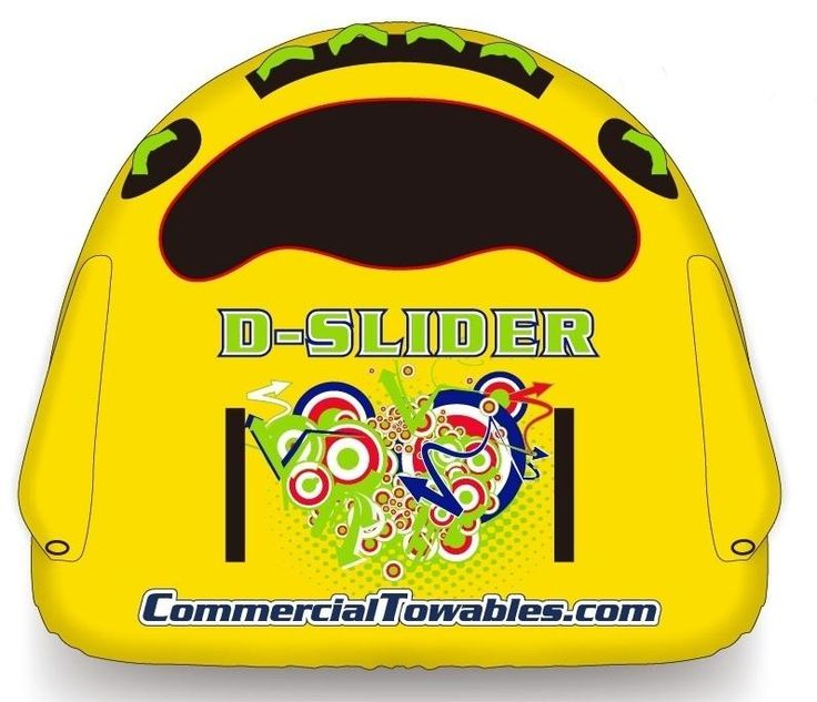Dslider  Τhe The D-Slider is a compact, light and fast towable for one or two persons.  It has heavy-duty double layer nylon cover and  an extra strong nylon bottom  It also has special handles that can help the rider get on the D-Slider  We are sure that this towable will give you extreme and safe rides.  You can use it in combination (4 or 6 D-Sliders together), ideal for extreme and young riders