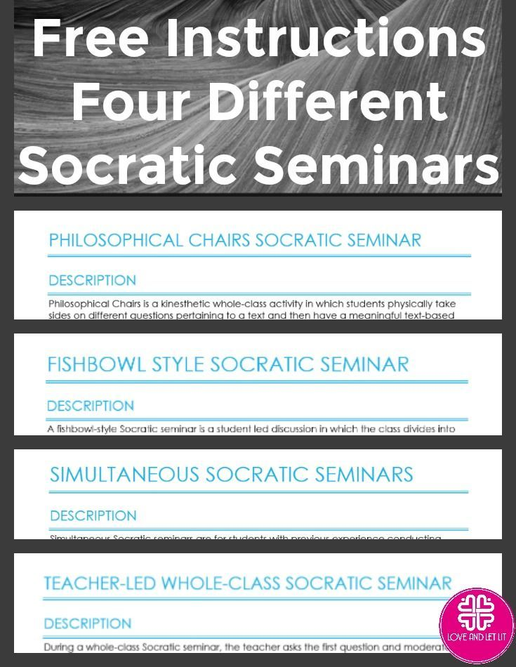 How to do a Socratic Seminar FREE Instructions. Directions for a Fishbowl Socratic Seminar, Philosophical Charis, Whole Class Discussion and Socratic Circles using the Socratic method! Perfect for the Secondary English Language Arts Classroom! Click to find out more.