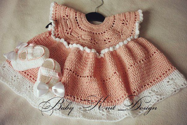 "Pink dress ""Angel"" with lovely booties"