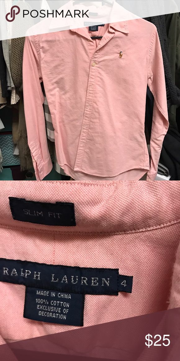 Ralph Lauren Women's Oxford Beautiful pink oxford, very flattering shape, good condition! Ralph Lauren Tops Button Down Shirts