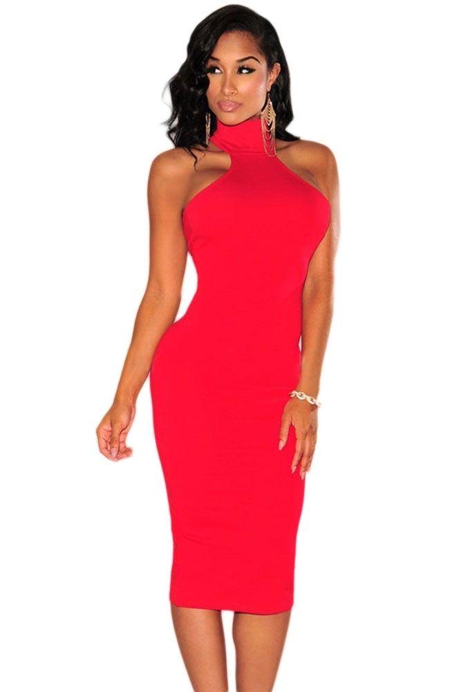 Sukienka czerwona z golfikiem midi