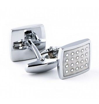 Sterling Silver Square Shaped Fancy Stones Cufflinks